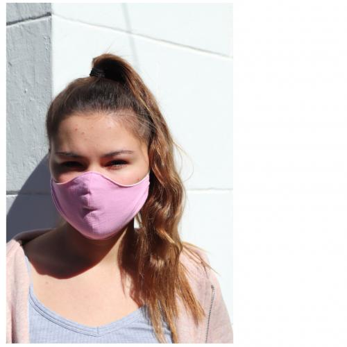 3 layer pink face mask with organic hemp lining