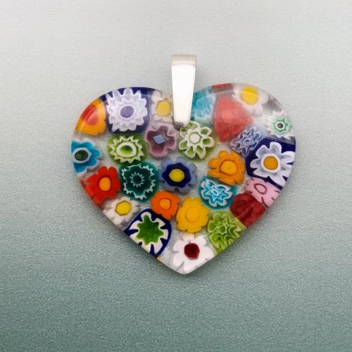 Multi millefiori large rainbow heart glass pendant