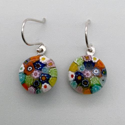 Multi colour millefiori glass dangle earrings
