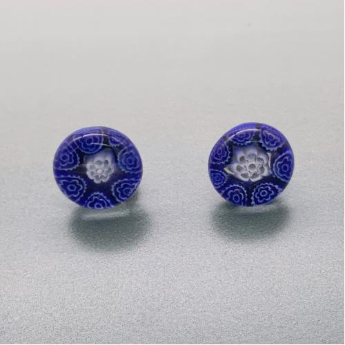 Fused navy and white glass fluerette stud earrings