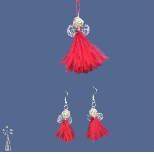 Silver wire & Ruby Feather Angel Pendant and Earrings